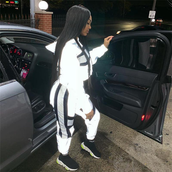 Toneway Clothing Block Reflective Glowing Tracksuit Womans Outfits Streetwear Cute Silver Two Piece Set Top and Pants Sweat Suits - ToneWay Clothing