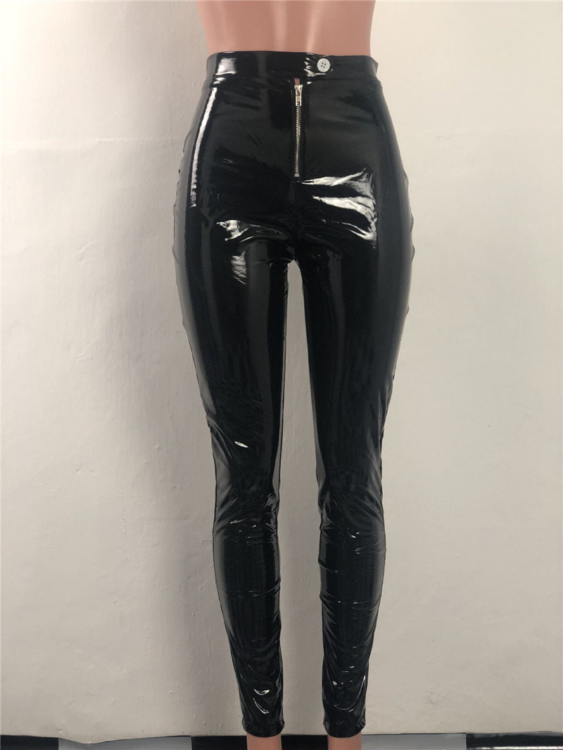 Toneway Warm Leather Pants Solid Highly Stretchy Mid Waist Comfortable Pencil Pants - ToneWay Clothing