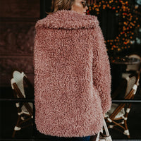 Toneway Clothing Women Winter Jacket Coat Faux Fur Bomber Jacket Teddy Coat Trench Wool Coat Pink Overcoat Long Sleeve Hooded Outwear - ToneWay Clothing