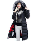 Toneway Clothing REVERSIBLE winter women hooded coat fur collar thicken warm long jacket female plus size 3XL outerwear parka ladies chaqueta feminino - ToneWay Clothing