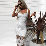 Toneway Clothing Dress 2020 Women Hollow Out Sleeveless Sexy Bodycon Dress Elegant Skinny Floral Pattern Lace Dresses Vestido - ToneWay Clothing