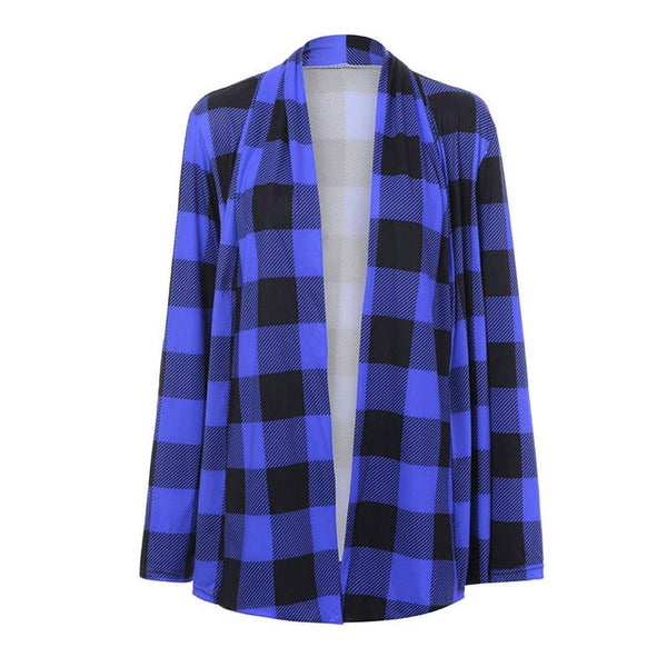 Toneway plaid jacket woman Long Sleeve Cardigans Fashion Open Front coat 2020 spring female Casual Streetwear - ToneWay Clothing