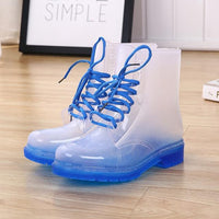 Toneway Clothing Women Rain Boots Waterproof Lady Shoes Transparent Candy Color Ankle Outdoor Girl's Shoes - ToneWay Clothing