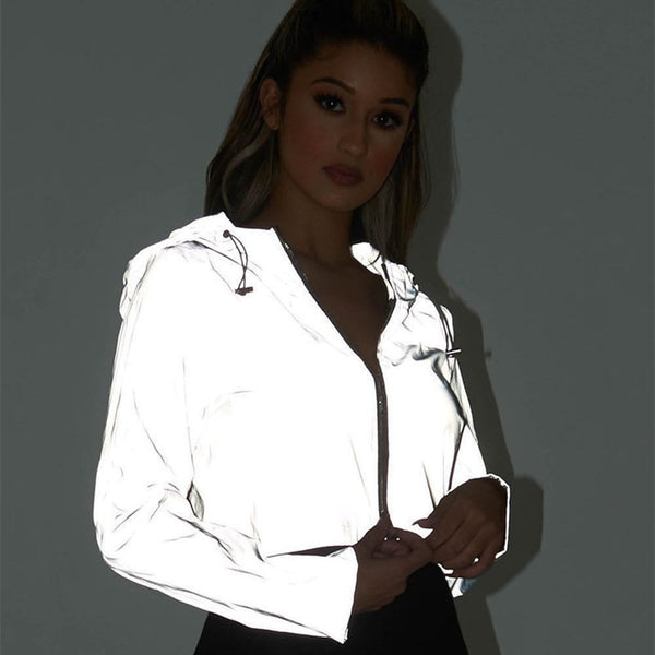 Toneway Clothing Reflective Glowing Jacket Women Coat Trending Products 2020 Spring Autumn Female Cropped Jackets Zip Up Hoodies - ToneWay Clothing