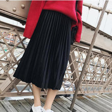 Load image into Gallery viewer, Toneway Clothing Spring 2020 Women Long Metallic Silver Maxi Pleated Skirt Midi Skirt High Waist Elascity Casual Party Skirt Vintage - ToneWay Clothing