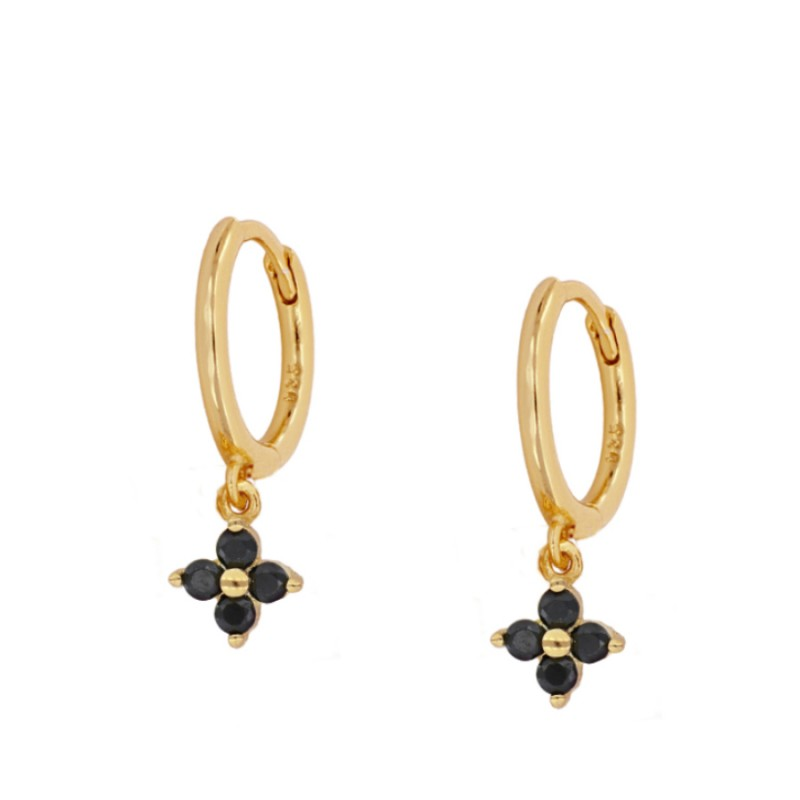 Flower Hoop Gold Black