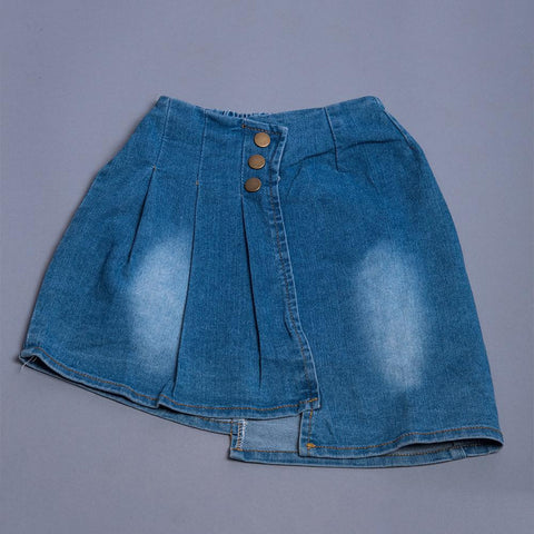 Girls Blue Washed Denim A-Line Skirt
