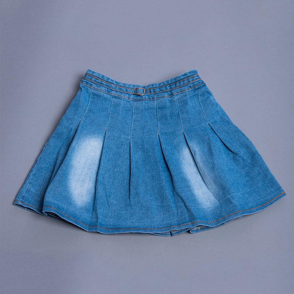 Girls Denim Pleated Skirt