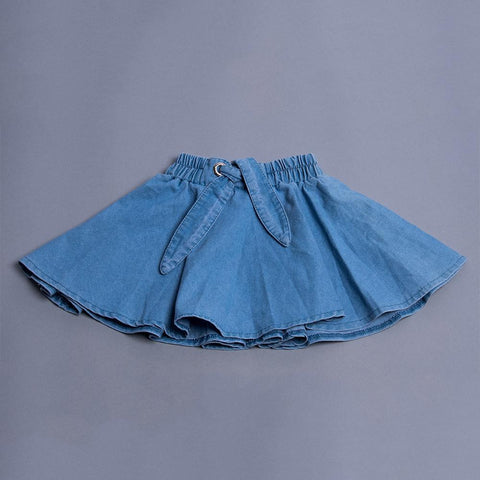 Girls Blue knot Flared Skirt