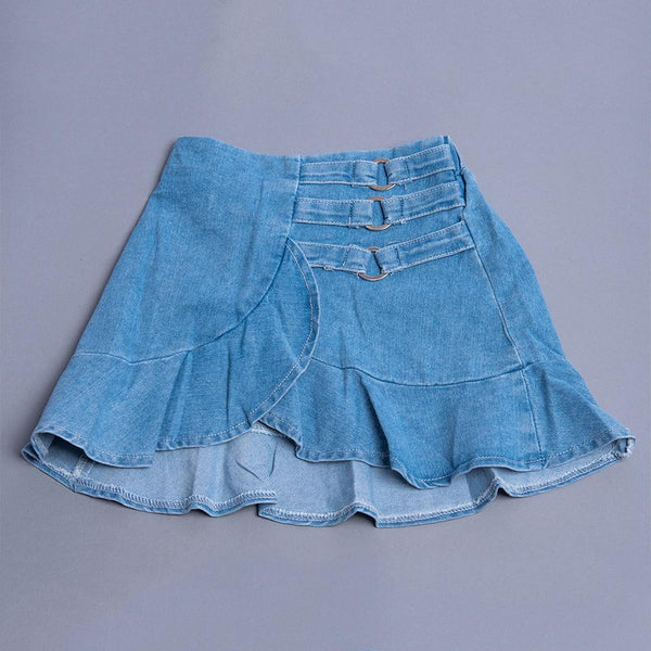Girls Blue Denim Low Distress A-line Skirt