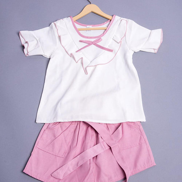 Girls White & Pink Top with Shorts