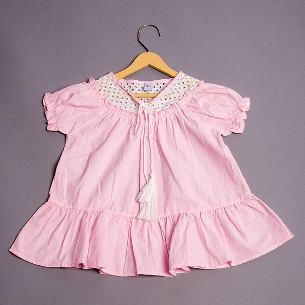Girls Pink Solid Patterned Flounced Dress