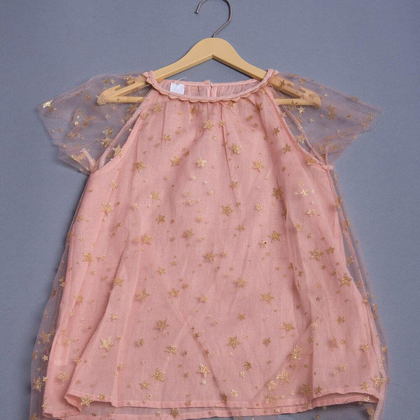 Girls Peach Sparkle  Flounced Dress