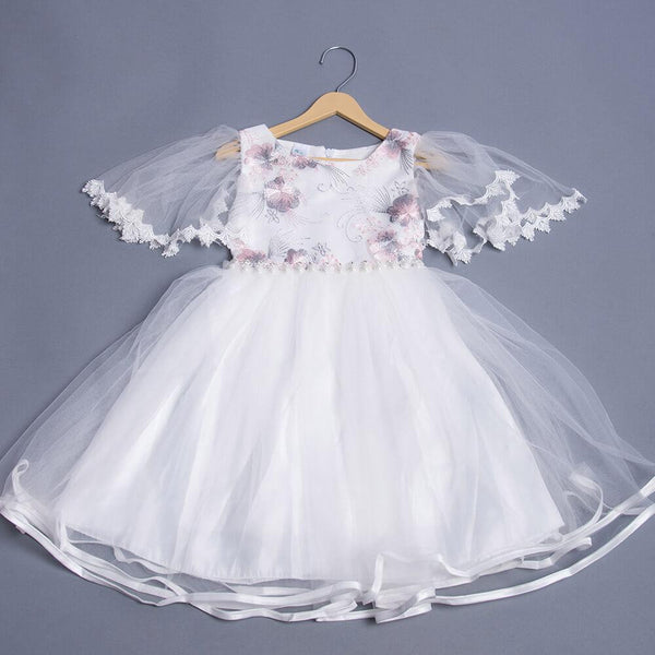 Girls Embroidery Embellished Party Dress