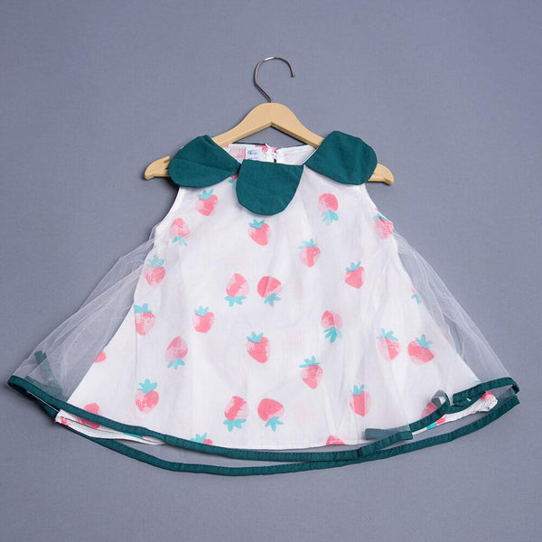 Sleeveless Frock with Strawberry Print