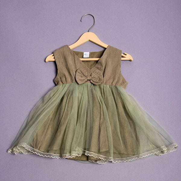 Girls Sleeveless Bow Applique Dress - Olive