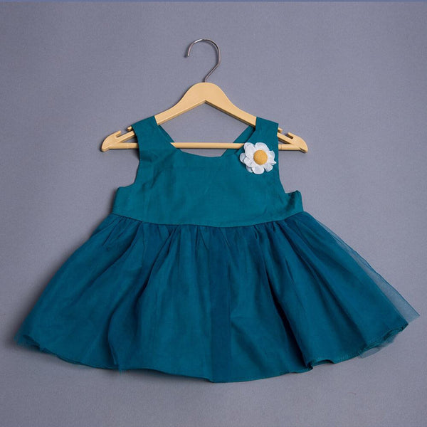 Girls Coloured Flare Dress with Floral Motif