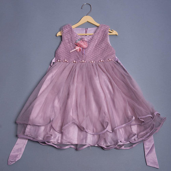 Girls Flower Applique Embellished Dress