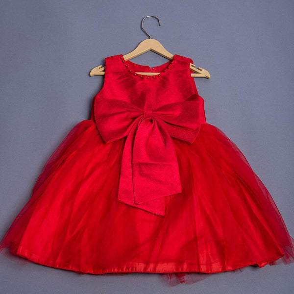 Girls Red Bow Applique Dress