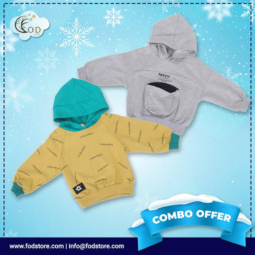 Set of 2 Winter Warm Hoodies - Yellow Grey