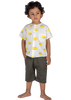 Boys White Half-sleeves shirt with Capri