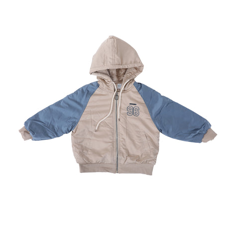 Kids Solid Puffer Jacket-Blue