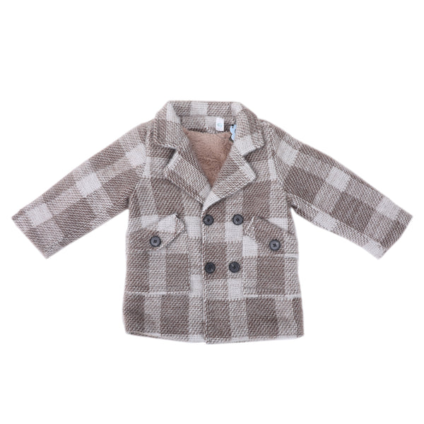 Full Sleeves Checked Coat - Beige