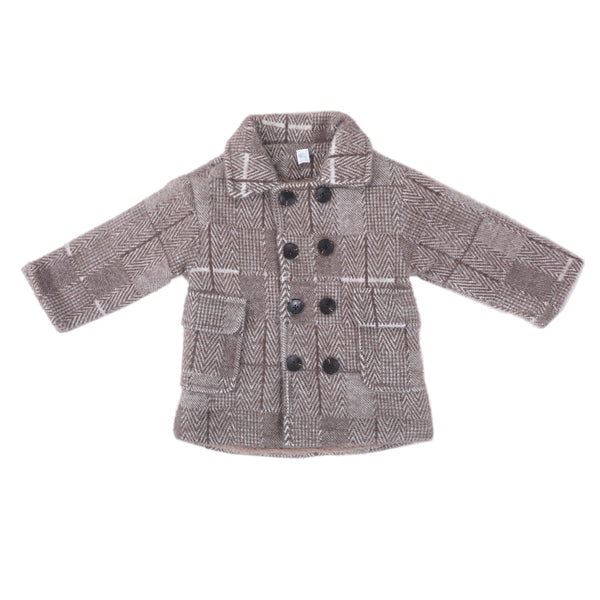 Full Sleeves Checked Coat - Grey