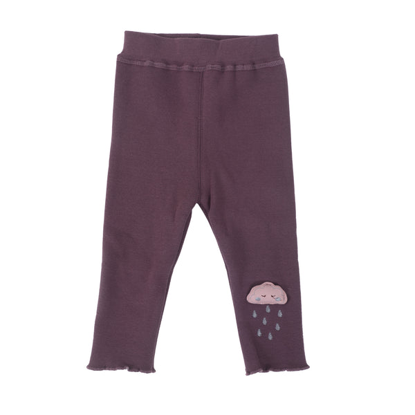 Kids Full Length Leggings With Cloud motif - Purple