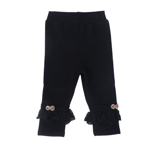 Kids Full Length Leggings With Flower & Lace Incert