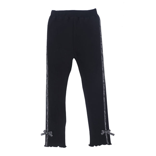 Kids Full Length Fancy Leggings  - Black