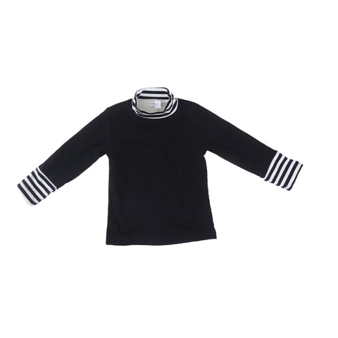 Girls Round Neck Black Warm Top