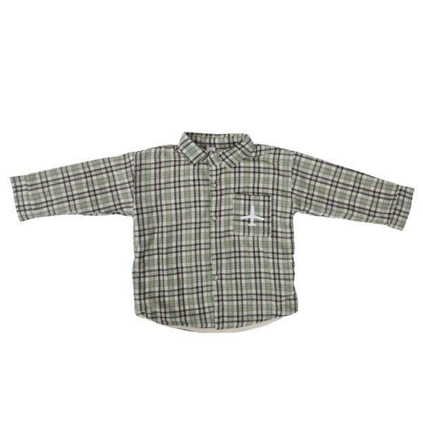 Boys Grey-Brown Check Patterned Shirt