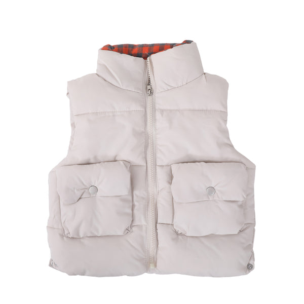 Sleeveless Warm Bomber Jacket-White