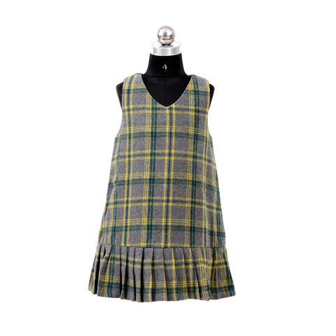 Girls Woolen Checks Short Dress