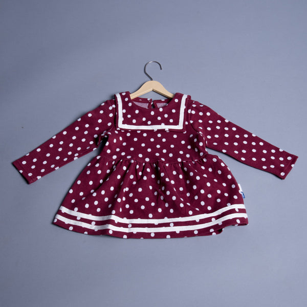 Girls Maroon Polka Dots Dress