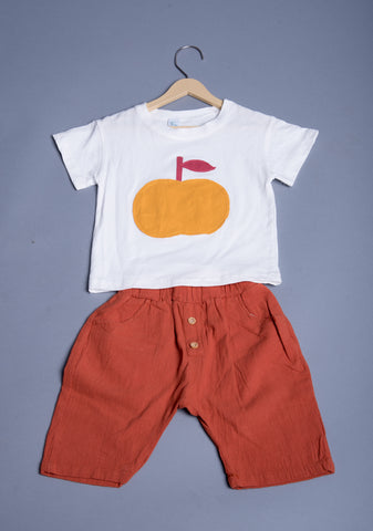 Boys Apple Applique Set With Capri