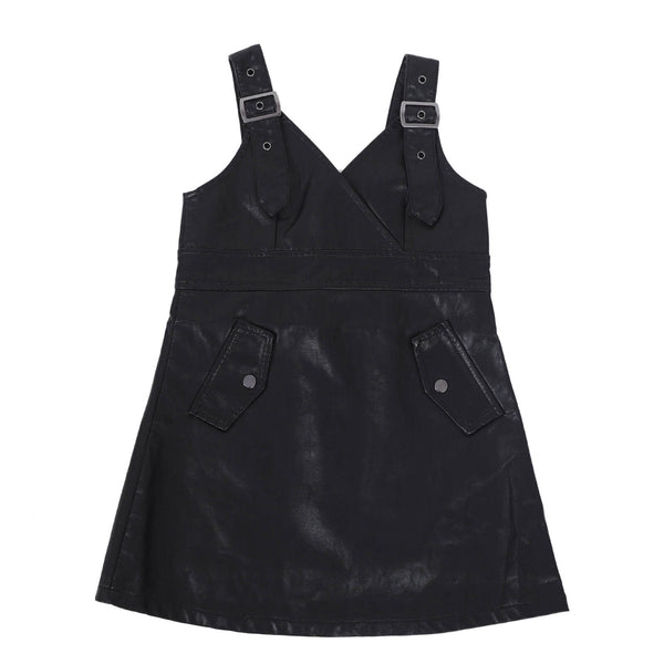 Girls Leather Black Strap Single Dress