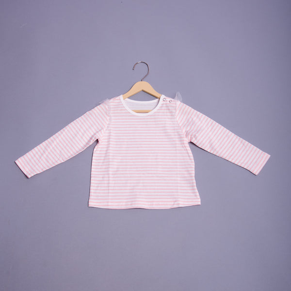 Girls Striped Round Neck T-shirt