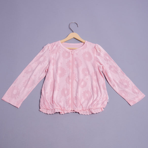 Girls Self Print Full Sleeves Top