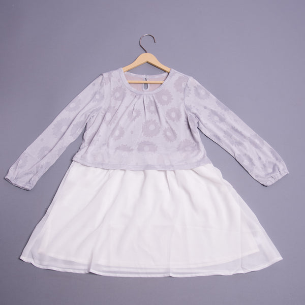 Girls Full Sleeves Self Print Dress