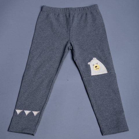 Girls Grey Leggings With Cartoon Applique