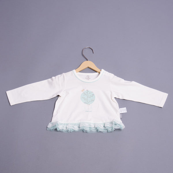 Girls Full Sleeves Lace Incert Top
