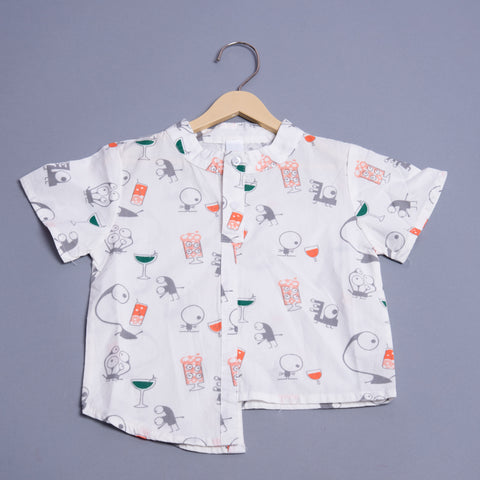 Boys Anatomy Printed Half-Sleeves Shirt