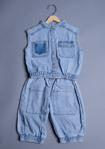 Boys Denim Cut Sleeves Denim Set