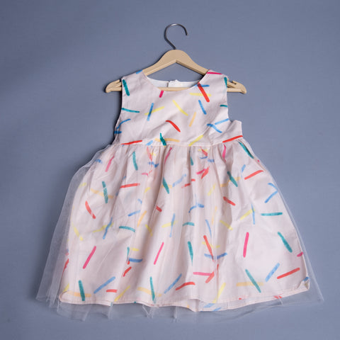 Girls Fancy Sleeveless Lining Frock