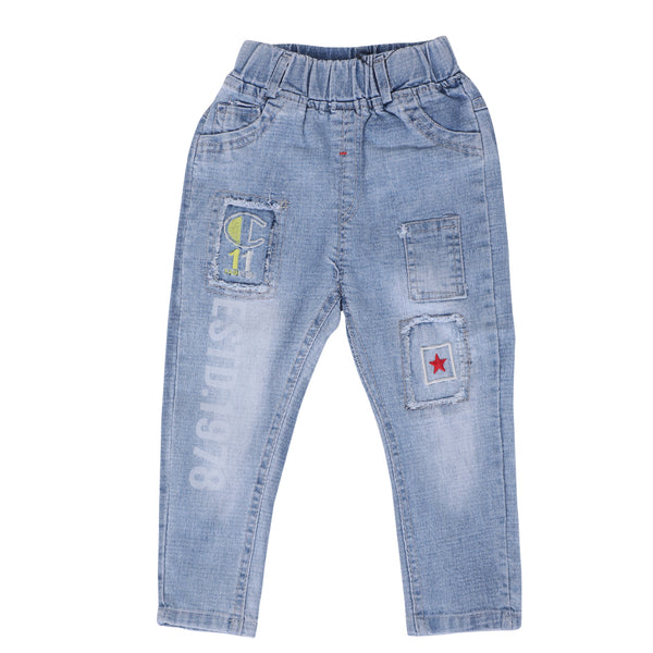 Kids Faded Denim Blue Jeans
