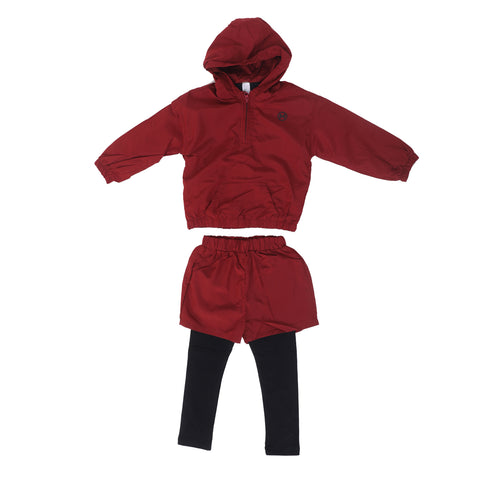 Girls Hooded Smart Wine Colored Set