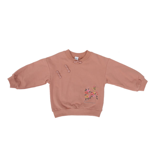 Girls Embroidery Embellished Sweatshirt