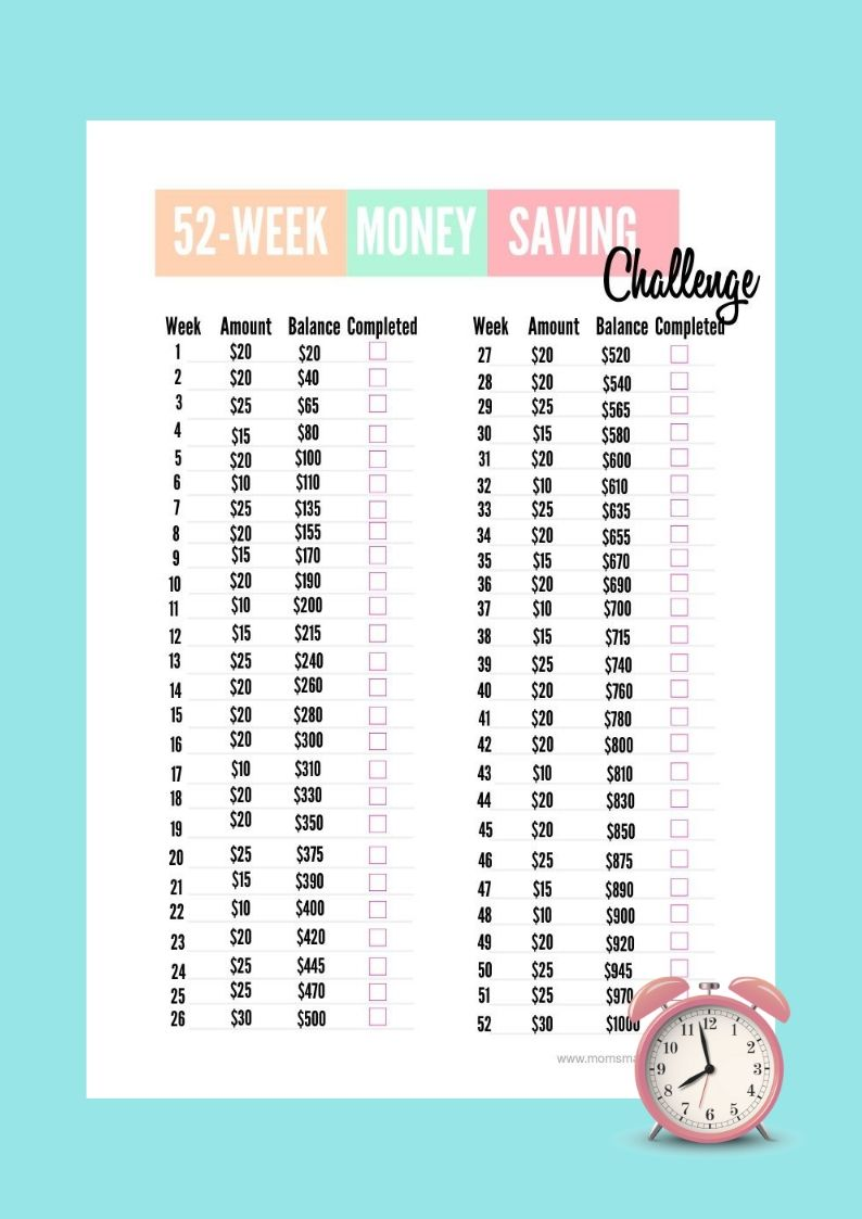 $1000 Money Savings Challenge
